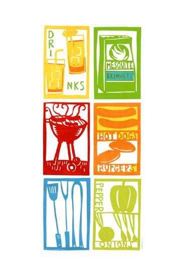 Barbecue Grill, Food, Drinks, and Cooking Utensils--Art Print