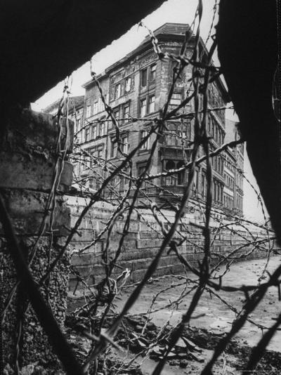 Barbed Wire Which Separates East and West Berlin-Paul Schutzer-Photographic Print