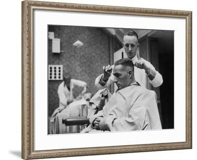 Barber at Work--Framed Photographic Print