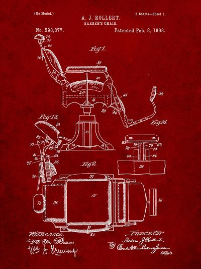 Barber's Chair Patent-Cole Borders-Art Print