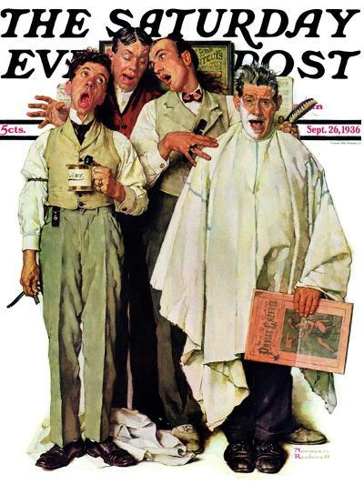 """Barbershop Quartet"" Saturday Evening Post Cover, September 26,1936-Norman Rockwell-Giclee Print"