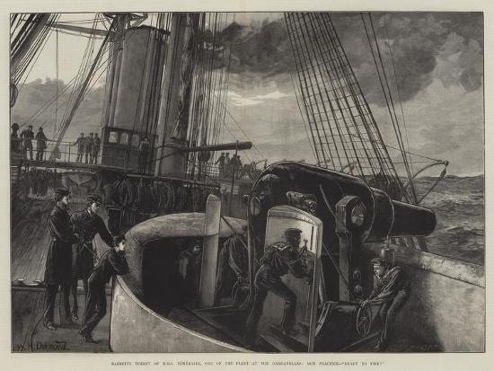 Barbette Turret of HMS Temeraire, One of the Fleet at the Dardanelles, Gun Practice, Ready to Fire!-William Heysham Overend-Giclee Print