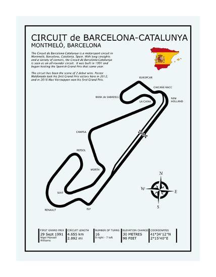 Barcelona-Catalunya Circuit-Mark Rogan-Giclee Print