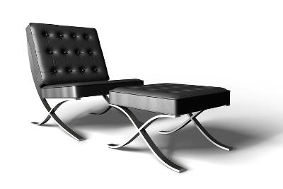 Barcelona Chair On White- cgtoolbox-Photographic Print