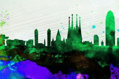 Barcelona City Skyline-NaxArt-Art Print