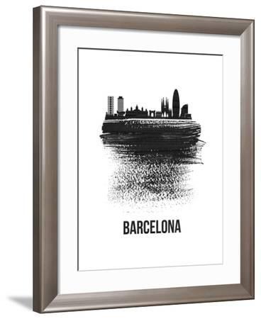Barcelona Skyline Brush Stroke - Black-NaxArt-Framed Art Print