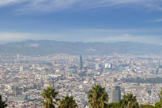 Barcelona Skyline from Montjuic.-Jon Hicks-Photographic Print