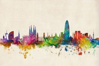 Barcelona Spain Skyline Cityscape-Michael Tompsett-Art Print