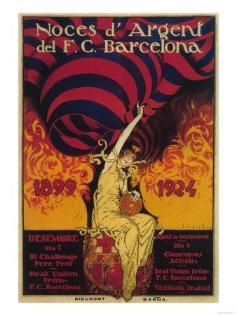 Barcelona, Spain - Soccer Promo Poster-Lantern Press-Art Print