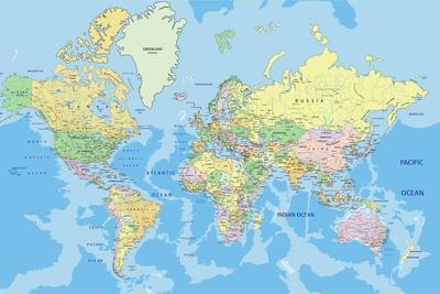 Highly Detailed Political World Map with Labeling.Vector Illustration.