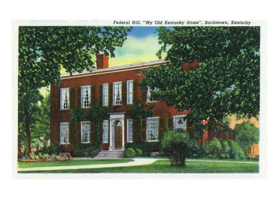 "Bardstown, Kentucky - Exterior View of ""My Old Kentucky Home"" on Federal Hill, c.1939-Lantern Press-Art Print"