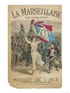 Bare Chested Marianne Raises Her Sword and Rebublican Flag and Leads the French Army