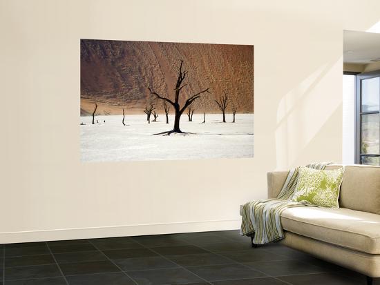 Bare Trees in Salt Plain with Sheer Hills Behind-Neil Setchfield-Giant Art Print