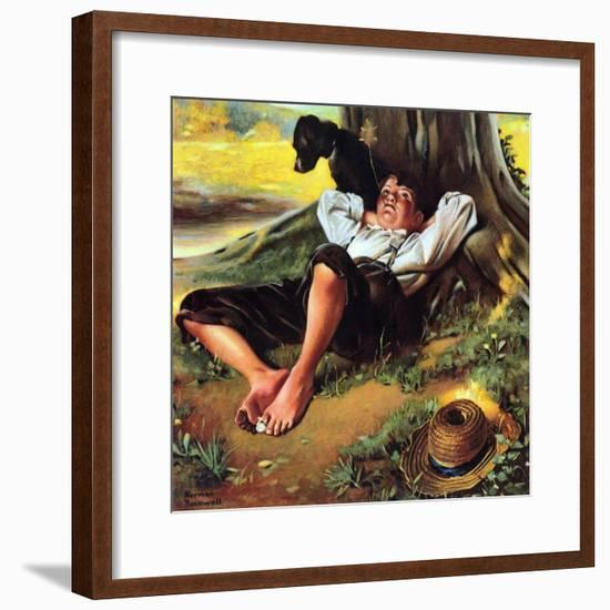 Barefoot Boy Daydreaming-Norman Rockwell-Framed Giclee Print