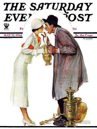 """""""Bargaining with Antique Dealer"""" Saturday Evening Post Cover, May 19,1934-Norman Rockwell-Giclee Print"""
