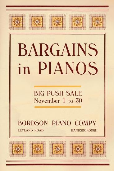 'Bargains in Pianos - Bordson Piano Company's advert', 1916-Unknown-Giclee Print