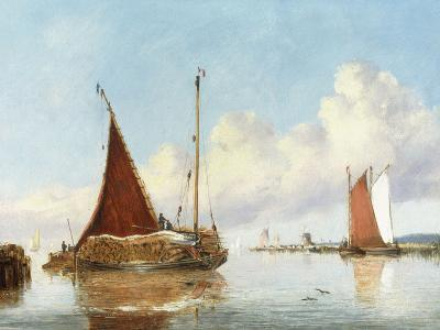 Barge Carrying Reeds on the Norfolk Broads-William Philip Barnes Freeman-Giclee Print