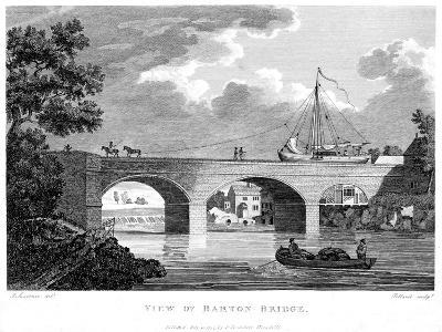 Barge Crossing the Barton Aqueduct over the Irwell, Salford, Greater Manchester, C1794-Robert Pollard-Giclee Print