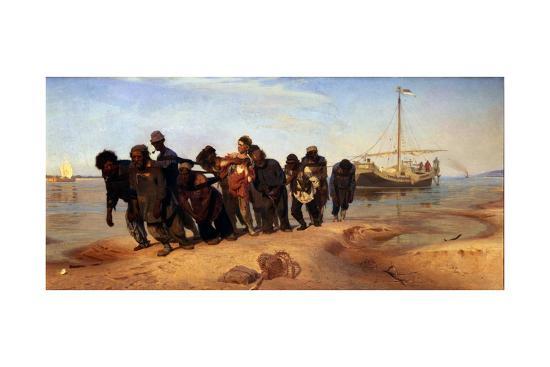 Barge Haulers on the Volga, 1872-1873-Ilya Yefimovich Repin-Giclee Print