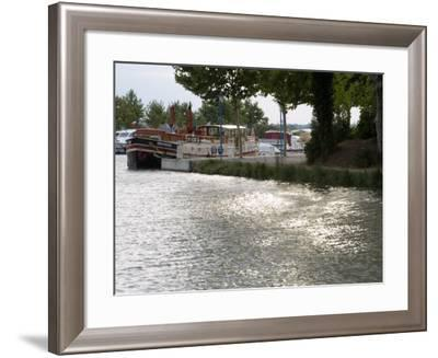 Barge Moored on the Canal Du Midi, Trebes, Aude Languedoc Roussillon, France, Europe-Martin Child-Framed Photographic Print