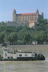 Barge on a River, Danube River, Bratislava Castle, Bratislava, Slovakia
