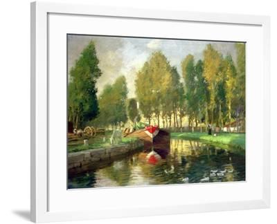Barge on a River, Normandy-Rupert Charles Wolston Bunny-Framed Giclee Print
