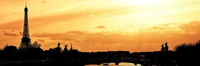 Barge on the River Seine with Views of the Eiffel Tower and Alexandre III Bridge - Paris - France-Philippe Hugonnard-Photographic Print