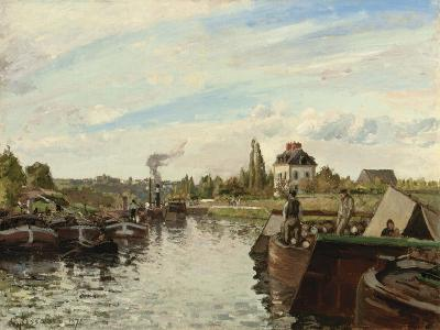 Barge on the Seine at Bougival, 1871-Camille Pissarro-Giclee Print