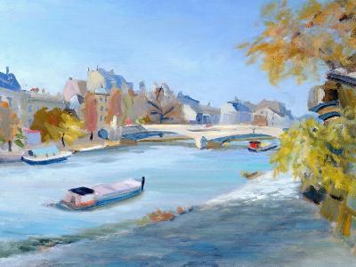 Barge Sailing Down the River Seine in Paris-Anne Durham-Giclee Print