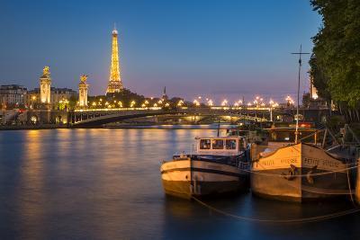 Barges Along River Seine with Eiffel Tower Beyond, Paris, France-Brian Jannsen-Photographic Print