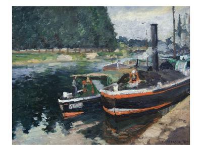 Barges at Pontoise-Camille Pissarro-Art Print