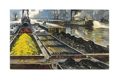 Barges Full of Raw Materials Travel Up and Down the Mississippi River-Thornton Oakley-Giclee Print