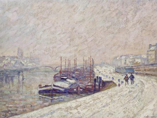 Barges in the Snow-Jean-Baptiste Armand Guillaumin-Giclee Print