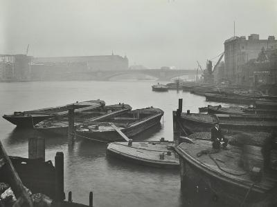 Barges Moored at Bankside Wharves Looking Downstream, London, 1913--Photographic Print