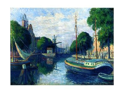 Barges on a Canal at Rotterdam, 1908-Maximilien Luce-Giclee Print