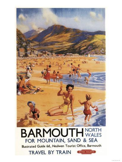 Barmouth, England - Beach Scene Mother and Kids British Rail Poster-Lantern Press-Art Print