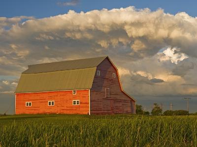 Barn and Cumulonimbus Cloud Mass near Bromhead, Saskatchewan, Canada-Dave Reede-Photographic Print