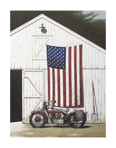 Barn and Motorcycle-Zhen-Huan Lu-Art Print