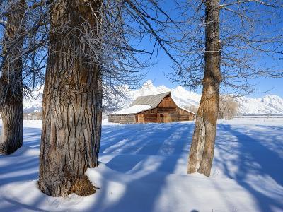 Barn below Teton Range in winter-Frank Lukasseck-Photographic Print