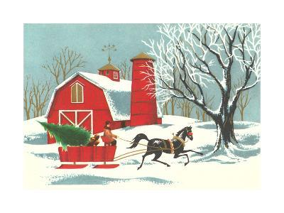 Barn, Horse-Drawn Sleigh--Art Print