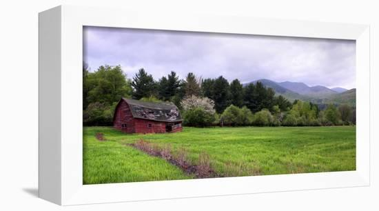 Barn in Keene Valley in Spring Adirondack Park, New York State, USA-null-Framed Premier Image Canvas