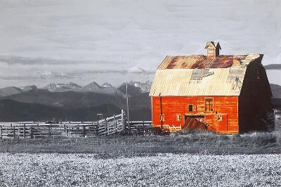 Barn with a Red Roof--Hand Embellished Art