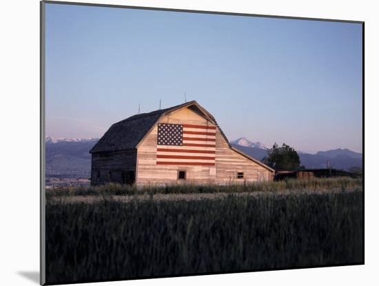 Barn with US Flag, CO-Chris Rogers-Mounted Photographic Print