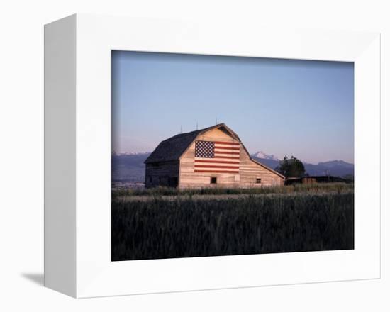 Barn with US Flag, CO-Chris Rogers-Framed Premier Image Canvas