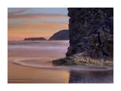 Barnacle-covered seastack at sunset, Pistol River Beach, Oregon-Tim Fitzharris-Art Print