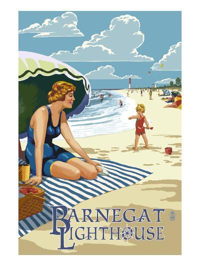 Barnegat Light, New Jersey - Beach Scene-Lantern Press-Art Print