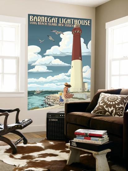 Barnegat Lighthouse - New Jersey Shore-Lantern Press-Wall Mural
