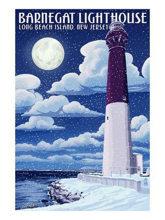 Barnegat Lighthouse - Snow Scene - New Jersey Shore-Lantern Press-Art Print