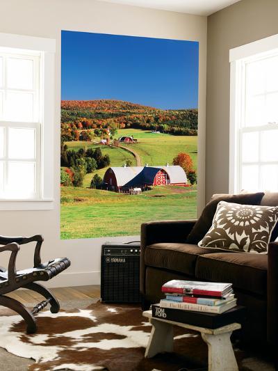 Barnet, View of Farm in Autumn, Northeast Kingdom, Vermont, USA-Walter Bibikow-Wall Mural