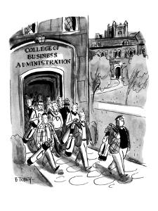 Students leaving campus of the College of Business Administration are all ? - New Yorker Cartoon by Barney Tobey